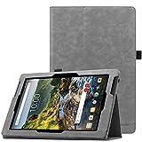 Famavala Folio Premium Vegan Leather Case Cover for 10' Verizon Ellipsis 10 HD (QTAXIA1) Tablet 2017 [Not Fit Ellipsis 10 2015,Pls Check Second Picture] (T-Gray)