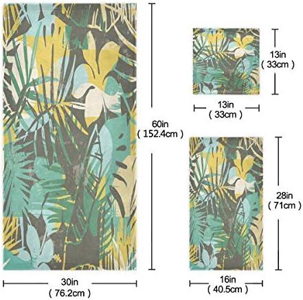 タオル バスタオル フェイスタオル ハンドタオル タオルセット 3点セット 葉柄 花柄 抽象画速乾 瞬間吸水 耐久性 肌触り抜群