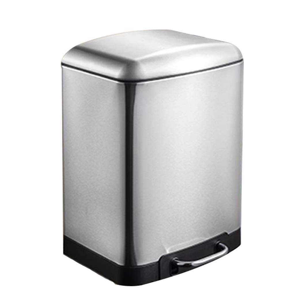 SX-ZZJ trash can- Stainless Steel Pedal Kitchen Trash Can - Home Hotel Large Rectangular Mute Trash Can (Color : A)