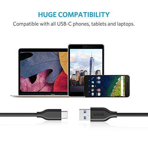 [3 Pack] Anker PowerLine USB-C to USB 3.0 Cable (3ft) with 56k Ohm Pull-up Resistor for USB Type-C Devices Including the new MacBook, ChromeBook Pixel, Nexus, OnePlus 2 and More