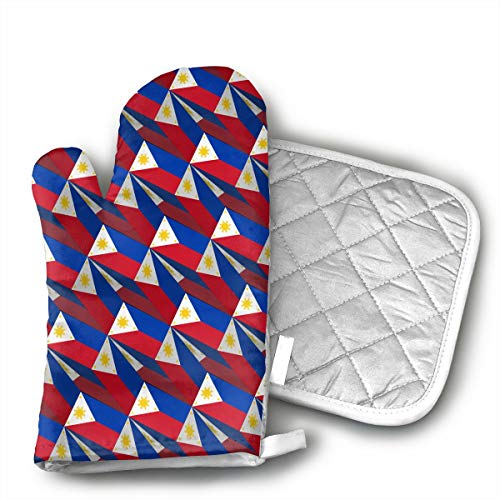 HEPKL Oven Mitts and Potholders Philippines Flag 3D Art Pattern Non-Slip Grip Heat Resistant Oven Gloves BBQ Cooking Baking Grilling ()