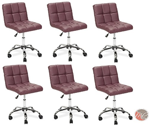 Madison & Park SET OF 6 Easy Glide Office Chair TTO BURGUNDY Desk Chair Task, Home, or Office Chair Office Furniture - Madison Office Furniture
