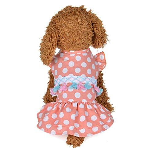 Pet Cute Skirt, OOEOO Summer Shirt Apparel Dotted Tassel Dress Dog Cat Costume Clothes (Pink, XS)