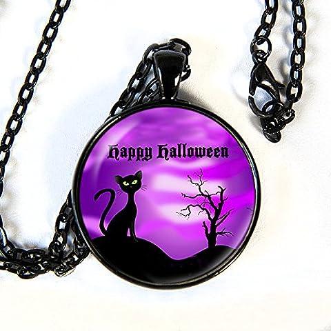 Happy Halloween - Black Cat -Pendant Necklace - HM (Frankenstein Cabochon)