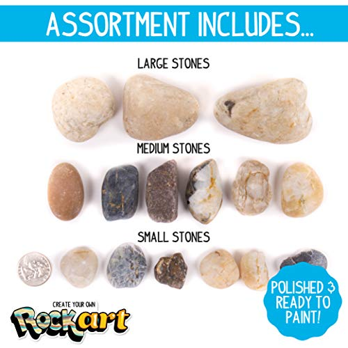 Made By Me Rock Art Kit by Horizon Group USA, Rock Painting Arts and Crafts Kit, Includes 3 Pounds of Rocks and 12 Colors of Paint