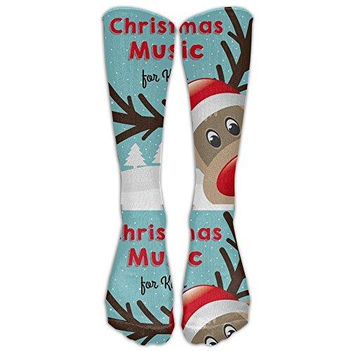 Unisex Fun Christmas Music For Kids Tube Socks Knee High Sports Crew Fashion Novelty Crew Fashion Novelty Socks Underwear Tube Socks Knee High Sports (Christmas Radio 2017 Music Stations)