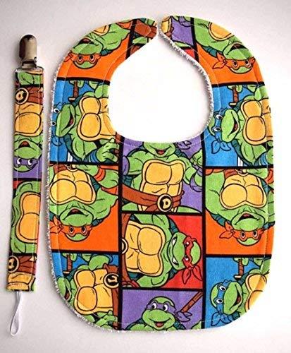 Handmade Teenage Mutant Ninja Turtles Baby Bib with Teenage Mutant Ninja Turtles Pacifier Clip Baby gift set Handmade in the USA