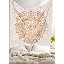 """Golden Ombre Tapestry by Labhanhi"""" Ombre Bedding , Mandala Tapestry, Queen, White Color Indian Mandala Wall Art Hippie Wall Hanging Bohemian Bedspread"""