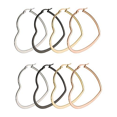 Belly Chandelier Beaded Ring Button - Anazoz Womens Earrings, 3 Pairs Stainless Steel Heart Hoop Earrings Set for Women 50MM