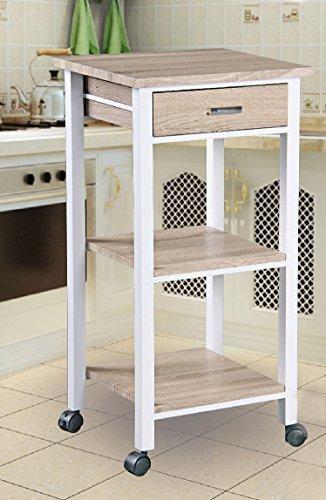 carrello da cucina su rulli con cassetto e 2 scaffali 42x38x81 cm in ottica rovere