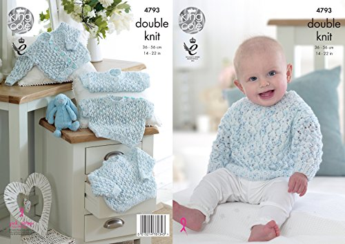 Long Cardigan Knitting Pattern - King Cole Baby Double Knitting Pattern Short or Long Sleeve Sweaters & Cardigans (4793)