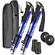 #LightningDeal Trekking Poles Collapsible Hiking Poles - Auminum Alloy 7075 Trekking Sticks,Antishock and Quick Lock System, Telescopic, Collapsible, Ultralight for Hiking, Camping