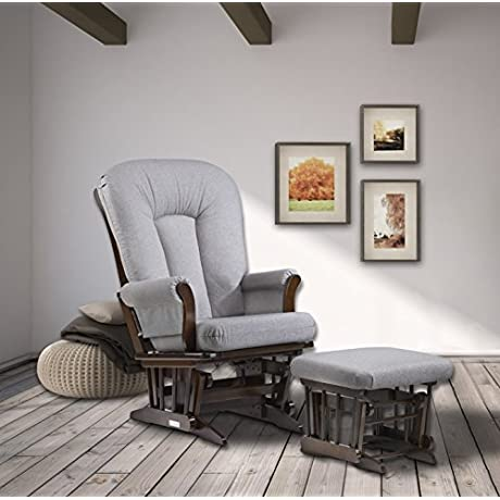 Dutailier Sleigh Glider And Ottoman Set Coffee Pebble Grey