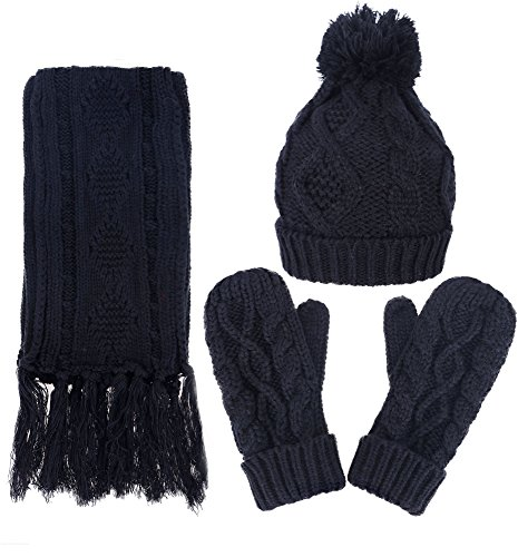 ANDORRA 3 in 1 Soft Warm Thick Cable Knitted Hat Scarf & Gloves Winter Set, One Size, Black