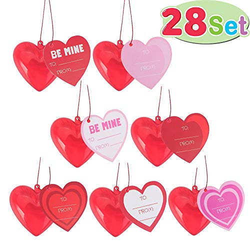 28 Pack Kids Valentines Cards with Translucent Valentines Hearts for Filling Specific Treats, Valentine's Day Party Favor, Classroom Exchange Party Favor -