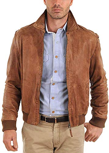 (King Leathers Men's Leather Jacket Motorcycle Bomber Biker Real Lambskin Leather Distress Brown Vintage Jacket for Men MJ16)