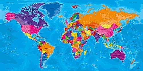 carte du monde grand format Original Map ®   Carte du Monde   Tableau Coloré   Grand Format de