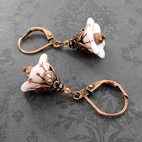 (White Czech Glass Flower Bead Lever Back Earrings with Antiqued Copper)