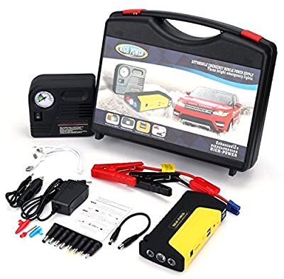 Powerocean 30000mah Multi-Function Car Jump Starter Kit with Built-in Survival Hammer, Blade, LED Torch Flashlight and 150 PSI Air Compressor Tire Pump (11 Items)