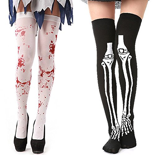 FERVENT LOVE Halloween Blood Stained White Stockings and Skeleton Over Knee Socks -