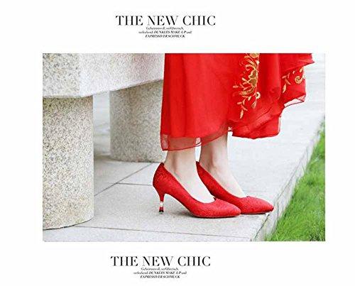Donne Veloce Ricamo Stile Rosso Rosso Appuntito Scarpe Classico Cotone Cinese Nozze Scarpe Pompe RqRrTg