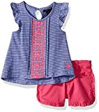 U.S. Polo Assn. Toddler Girls' Fashion Top and Short Set, Flutter Tank Ruffle Short Multi, 3T