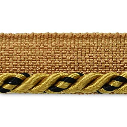 Expo International 20-Yard Ebony Twisted Lip Cord Trim Embellishment, 1/8-Inch, Gold/Brown IR2558GLB-20