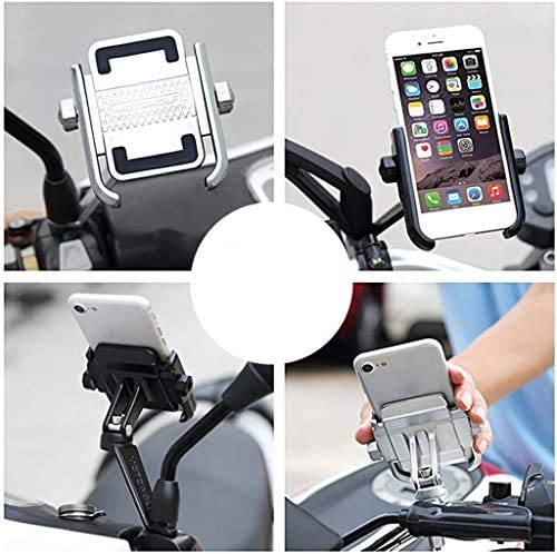 Soporte Smartphone Universal Moto Espejo Retrovisor Rotaci/ón de Aluminio para Motociclo Ciclomotor Scooter para M/óvil Navegador GPS Espejo Negro