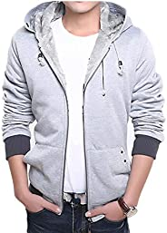 Warm Men's Long Sleeve Jacket Full Zip Oversized Hoodie with Two Pockets and Thick Fleece Lined Casual Win