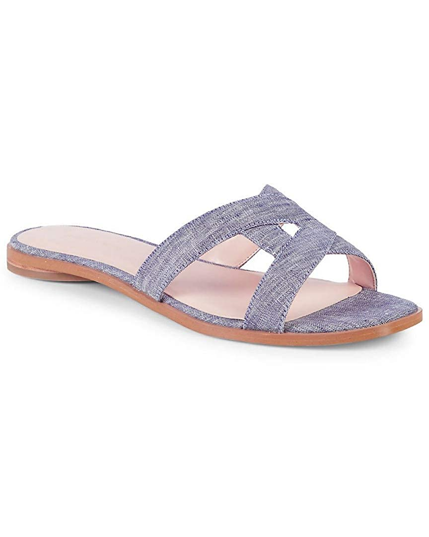 bluee Washed Denim Avec Les Filles Womens Blaye Flat Sandal