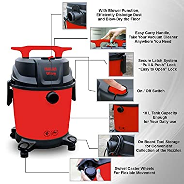 Inalsa Ultra WD10 Wet & Dry Vacuum Cleaner-1000W with 3in1 Multifunction Wet/Dry/Blowing  14KPA Suction and Impact Resistant Polymer Tank,(Red/Black) 11
