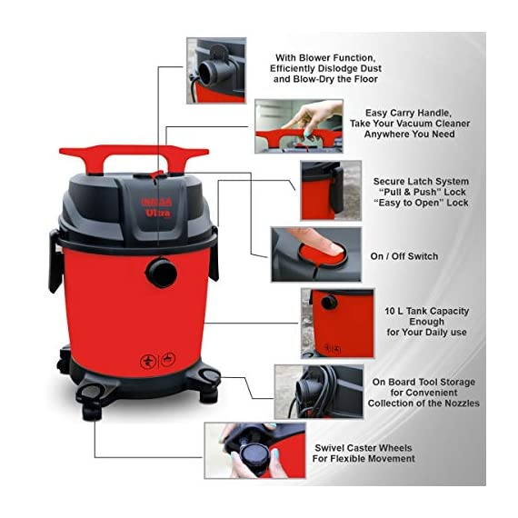 Inalsa Ultra WD10 Wet & Dry Vacuum Cleaner-1000W with 3in1 Multifunction Wet/Dry/Blowing  14KPA Suction and Impact Resistant Polymer Tank,(Red/Black) 4