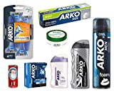 Arko 8-Piece Shaving Set (Action Shaving Foam/Moist Shaving Cream/Extra Sensitive Balm/Silver Cologne/Cool Lotion/Classic Cream/Shave Soap/Razor)