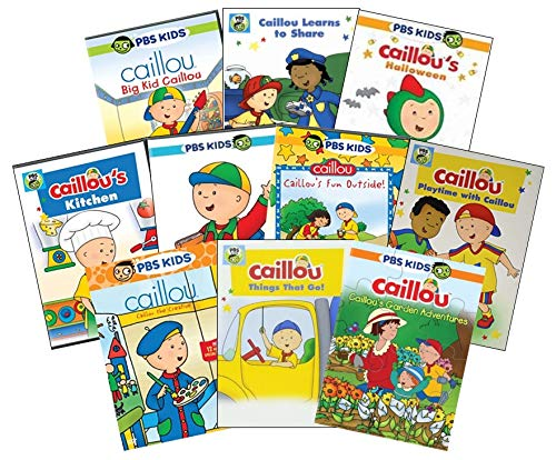 Ultimate PBS Caillou Learning DVD Collection: Big Kid Caillou/Learns To Share/Halloween/Kitchen/Playschool Adventures/Fun Outside/Playtime With/The Creative/Things That Go/Garden Adventures + Bonus Pu -