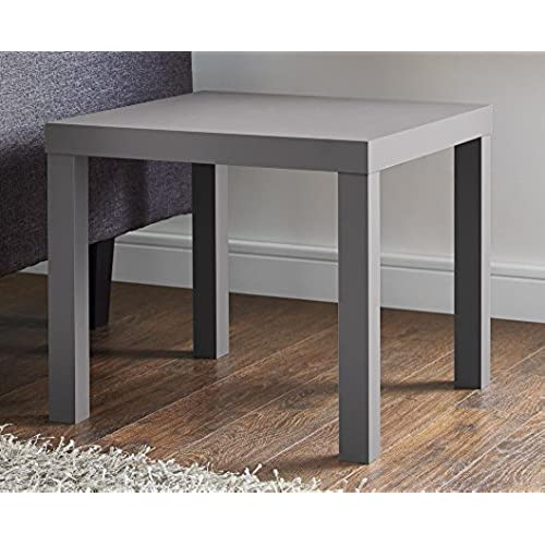 DHP Parsons Modern End Table, Multi Use And Toolless Assembly, Grey