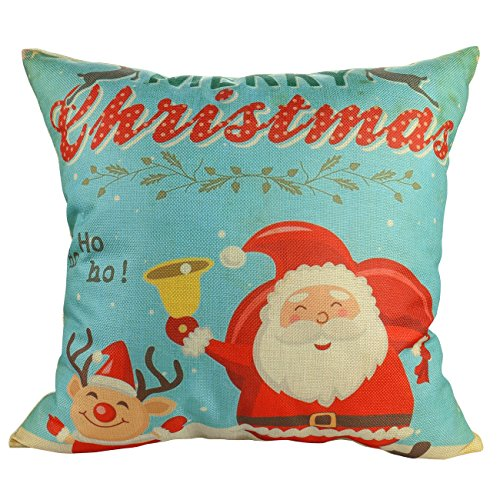 Luxbon Cotton Linen Cute Santa Claus Reindeer Snowman Snowflake Christmas Tree Little House Bird Gift Ho Ho Ho Merry Christmas & Happy New Year Pillow Case Cushion Cover Insert Not Inclued - Design 4