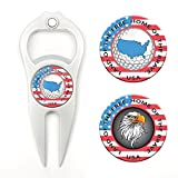 Hat Trick Openers 6-in-1 Golf Divot Tool & Poker Chip Marker Set with USA Logo, White