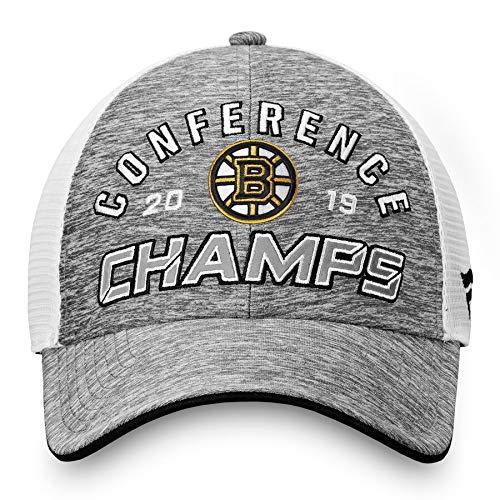 Boston Bruins Locker Room - Official Bruins 2019 Eastern Conference Champions Locker Room Adjustable Hat - Gray/White