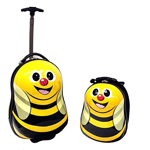 2 Piece Whimsical Striped Bees Design Rolling Lightweight Luggage Suitcase, Graphic Geometric Stripes Flying Animals Themed, Hardsided, Hardshell, Fashionable, Handle Kids Travel Cases, Black, Yellow by S & E