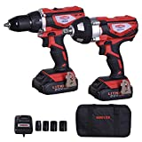 Dobetter DBCD/CIW20 20V MAX Lithium-Ion 1/2 inch Cordless Drill /Driver &1/2 inch Impact Wrench Combo Kit - 2 Packs, Fast Charger, with 4 Pieces Sockets, Tote Bag