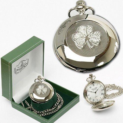 Irish Celtic Shamrock Pocket Watch by Mullingar Pewter