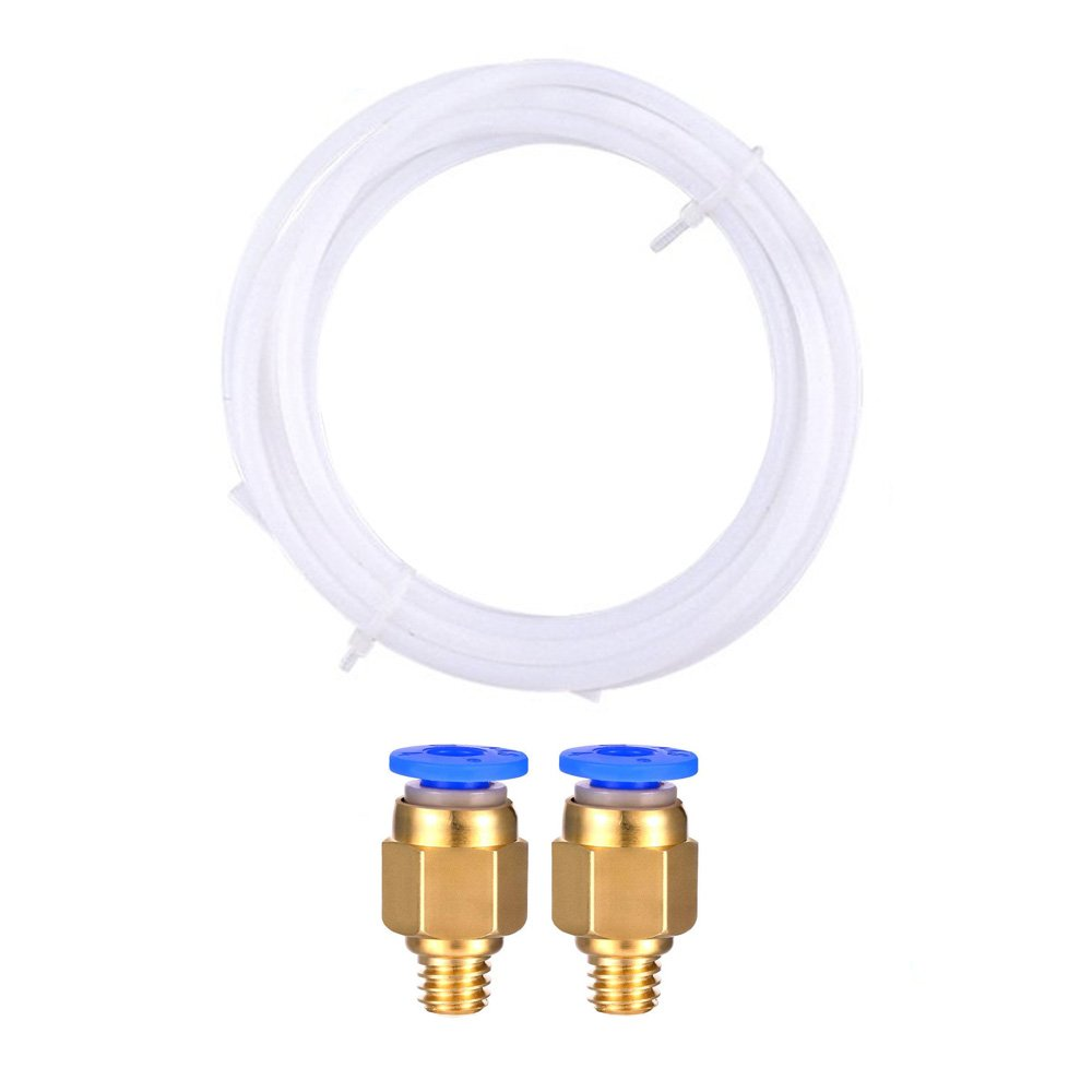 CCTREE 2 Meters PTFE Teflon Bowden Tube with 2Pcs PC4-M6 Fittings for Ender 3, CR-10/CR-10S, S4, S5 3D Printer 1.75mm Filament CC-Tube