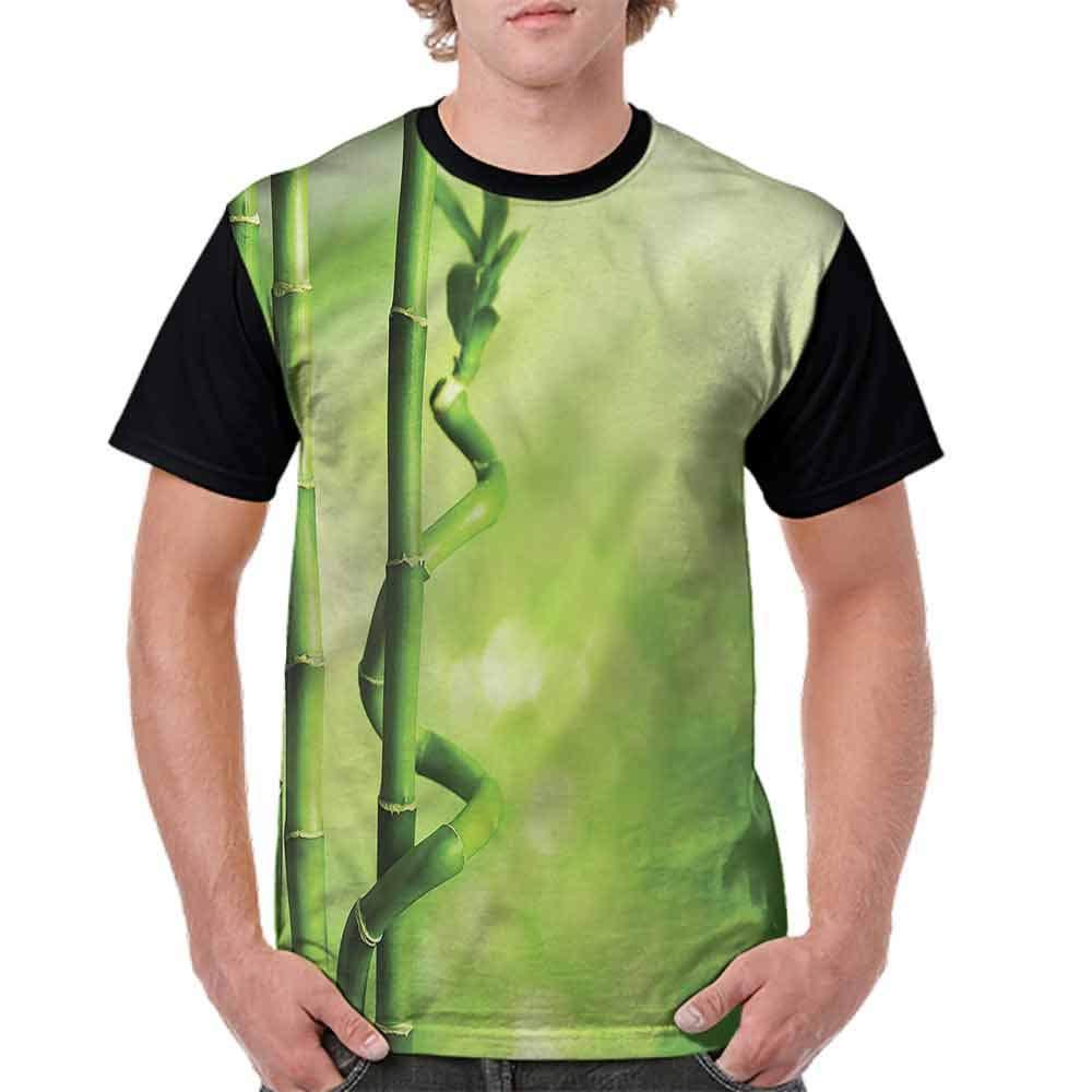 Classic T-Shirt,Bamboo Stems Nature Sunbeam Fashion Personality Customization