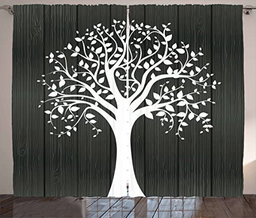 Ambesonne Apartment Decor Curtains, A Tree with Many Leaves Pattern Wooden Background Botanical Decor Illustration, Living Room Bedroom Window Drapes 2 Panel Set, 108 W X 84 L Inches, White