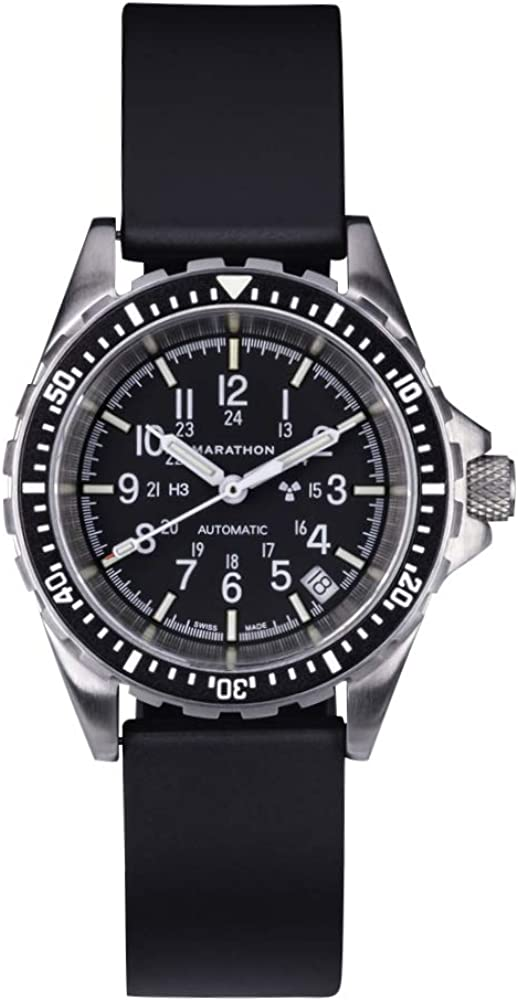 Marathon Watch WW194026 Swiss Made Military Diver s Automatic Medium Size Watch with Tritium 36mm – Rubber Strap or Stainless Steel Bracelet US or NGM