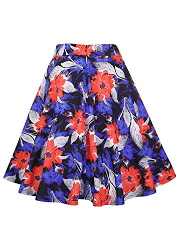 Ruiyige mujeres 3D florales de impresión de alta cintura plisada falda de mediana skater mini falda naranja