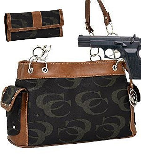 Black and Brown Fashion Signature Conceal and Carry Purse W Matching Wallet
