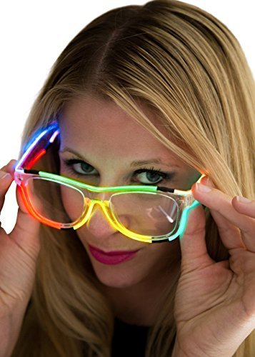 Neon Nightlife Rainbow Frame/Clear Lens Wayfarer 55mm Light Up Glasses - Led Light Stick Man Costume