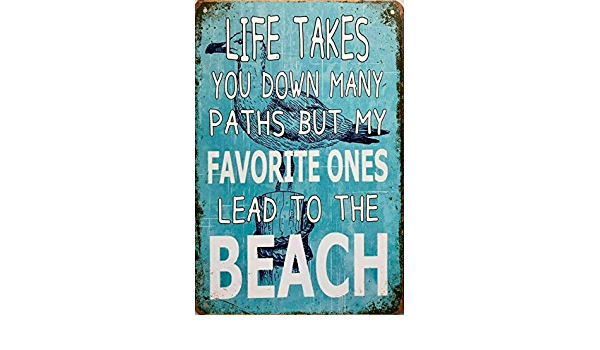 My Favorite Path Leads To The Beach tin metal sign MAN CAVE brand new