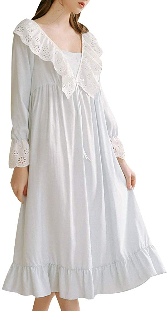 Vintage Nightgowns, Pajamas, Baby Dolls, Robes EVEDESIGN Womens Retro Cotton V Neck Nightgown Casual Hollow Out Ruffle Front Sleep Dress $35.72 AT vintagedancer.com